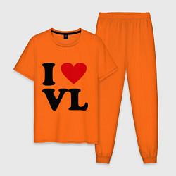 Пижама хлопковая мужская I love VL цвета оранжевый — фото 1