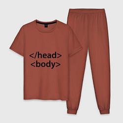 Пижама хлопковая мужская Head Body цвета кирпичный — фото 1