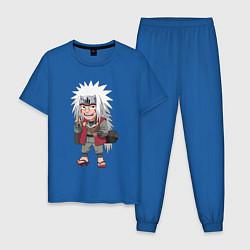 Пижама хлопковая мужская Джирайя цвета синий — фото 1