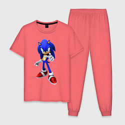 Пижама хлопковая мужская ЁЖ Соник цвета коралловый — фото 1