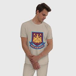 Пижама хлопковая мужская West Ham United цвета миндальный — фото 2