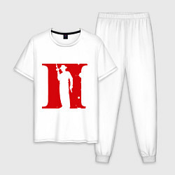 Пижама хлопковая мужская Мафия цвета белый — фото 1