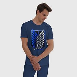 Пижама хлопковая мужская Attack on titan цвета тёмно-синий — фото 2