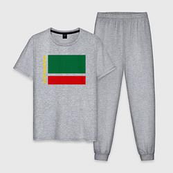 Пижама хлопковая мужская Чечня: флаг цвета меланж — фото 1