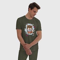 Пижама хлопковая мужская Лисёнок-пилот цвета меланж-хаки — фото 2
