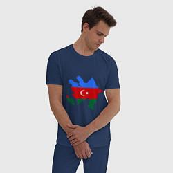 Пижама хлопковая мужская Azerbaijan map цвета тёмно-синий — фото 2