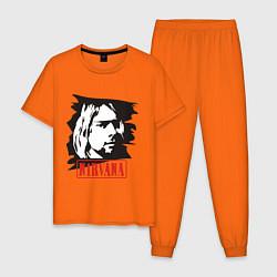 Пижама хлопковая мужская Nirvana: Kurt Cobain цвета оранжевый — фото 1