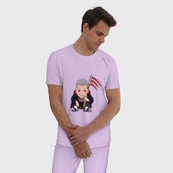 Пижама хлопковая мужская Хидан цвета лаванда — фото 2