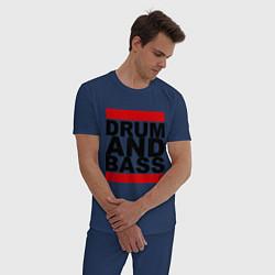 Пижама хлопковая мужская Drum and bass цвета тёмно-синий — фото 2