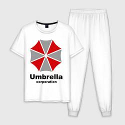 Пижама хлопковая мужская Umbrella corporation цвета белый — фото 1