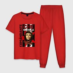 Пижама хлопковая мужская Comandante цвета красный — фото 1