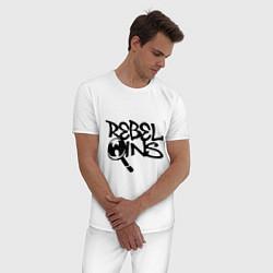 Пижама хлопковая мужская Wu-Tang - Rebel Ins цвета белый — фото 2