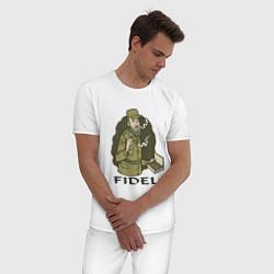 Пижама хлопковая мужская Fidel Castro цвета белый — фото 2
