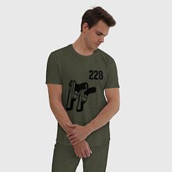 Пижама хлопковая мужская 228 цвета меланж-хаки — фото 2