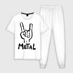 Пижама хлопковая мужская Metal цвета белый — фото 1