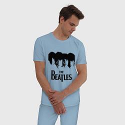 Пижама хлопковая мужская The Beatles: Faces цвета мягкое небо — фото 2