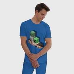 Пижама хлопковая мужская Minecraft Cube's цвета синий — фото 2