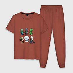 Пижама хлопковая мужская Minecraft Units цвета кирпичный — фото 1