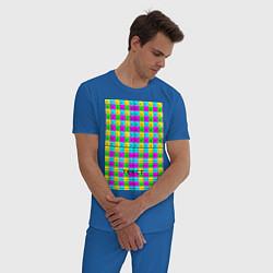 Пижама хлопковая мужская Тестовый яркий цвета синий — фото 2