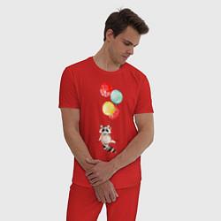 Пижама хлопковая мужская Енот на шариках цвета красный — фото 2