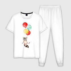 Пижама хлопковая мужская Енот на шариках цвета белый — фото 1