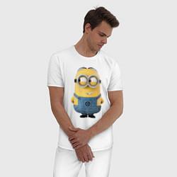 Пижама хлопковая мужская Хитрый Миньон цвета белый — фото 2