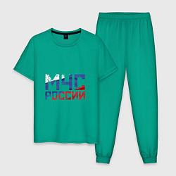 Пижама хлопковая мужская МЧС России цвета зеленый — фото 1