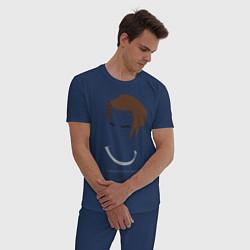 Пижама хлопковая мужская SKAM: Christoffer Schistad цвета тёмно-синий — фото 2