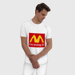 Пижама хлопковая мужская Im lovin it! цвета белый — фото 2