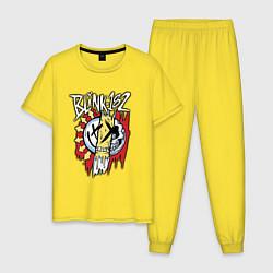 Пижама хлопковая мужская Blink-182: Mixed Up цвета желтый — фото 1