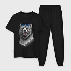 Пижама хлопковая мужская Медведь в очках цвета черный — фото 1