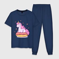 Пижама хлопковая мужская Единорог на пончике цвета тёмно-синий — фото 1