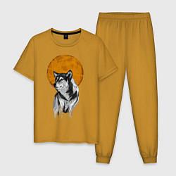 Пижама хлопковая мужская Волк под луной цвета горчичный — фото 1