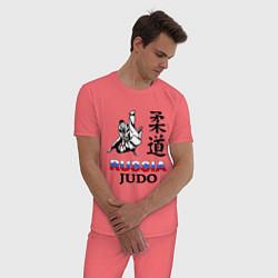 Пижама хлопковая мужская Russia Judo цвета коралловый — фото 2