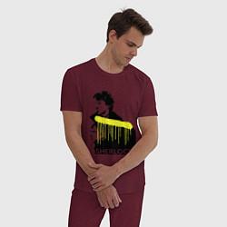 Пижама хлопковая мужская Sherlock: Yellow line цвета меланж-бордовый — фото 2