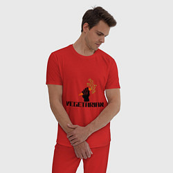 Пижама хлопковая мужская Vegetarian (Вегетерианство) цвета красный — фото 2