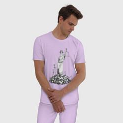 Пижама хлопковая мужская Фемида на костях цвета лаванда — фото 2