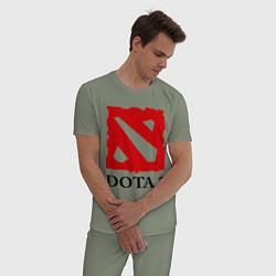 Пижама хлопковая мужская Dota 2: Logo цвета авокадо — фото 2