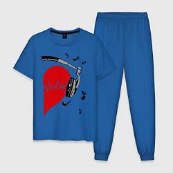 Пижама хлопковая мужская Влюбленный меломан цвета синий — фото 1