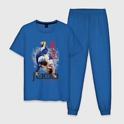 Пижама хлопковая мужская Дзюдо: национальная команда цвета синий — фото 1