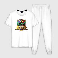 Пижама хлопковая мужская Гвинт цвета белый — фото 1