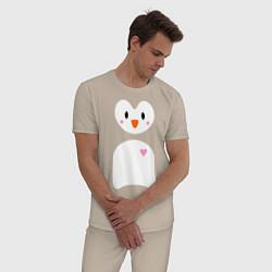 Пижама хлопковая мужская Привет от пингвина цвета миндальный — фото 2