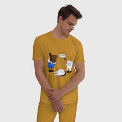 Пижама хлопковая мужская Шоколад и зубы цвета горчичный — фото 2