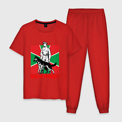 Пижама хлопковая мужская Враг не пройдет цвета красный — фото 1