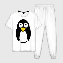Пижама хлопковая мужская Милый пингвин цвета белый — фото 1