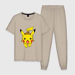 Пижама хлопковая мужская Пикачу цвета миндальный — фото 1