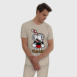 Пижама хлопковая мужская Cuphead Boy цвета миндальный — фото 2