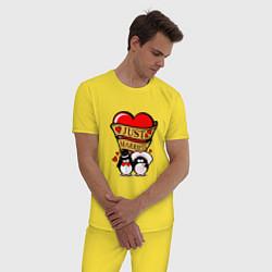 Пижама хлопковая мужская Just Married / Молодожены цвета желтый — фото 2