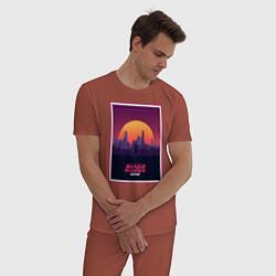 Пижама хлопковая мужская Бегущий по лезвию 2049 цвета кирпичный — фото 2