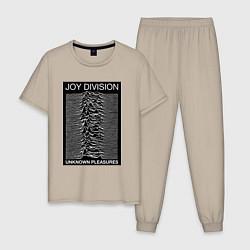 Пижама хлопковая мужская Joy Division: Unknown Pleasures цвета миндальный — фото 1